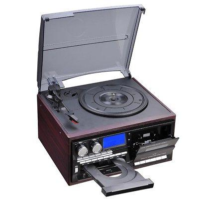 Bluetooth System with Speakers Turntable AM/FM Cassette