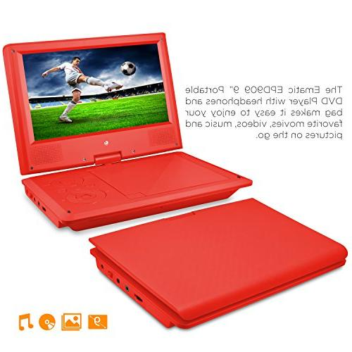 Ematic Player with 9-inch LCD Screen, Headphones,