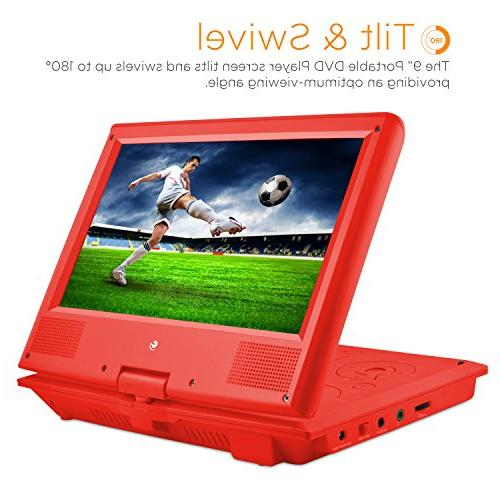 Ematic Portable DVD Player with 9-inch Swivel Screen, and Headphones, Red
