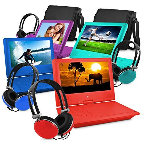 Ematic Portable DVD Player with Screen, Headphones, Red