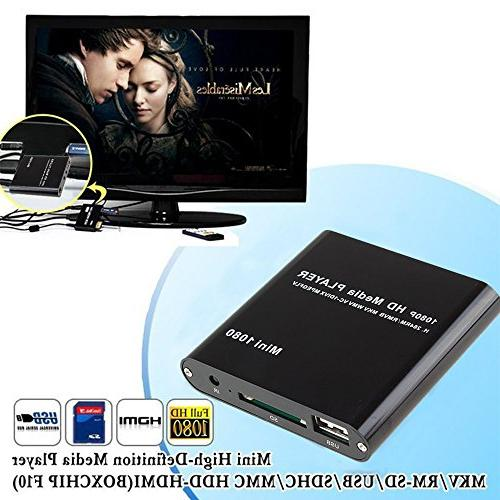 HDMI Media Player, AGPtek Black Mini Full-HD Ultra Player USB and SD Cards