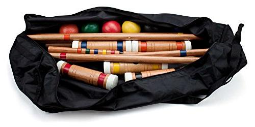 Six-Player Croquet with Wooden Mallets, Balls, Sturdy Yard Sporting