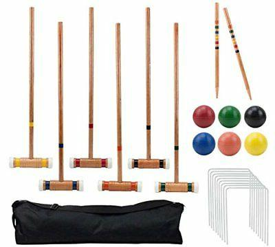 Six-Player Deluxe Croquet Set with Wooden Mallets, Colored B