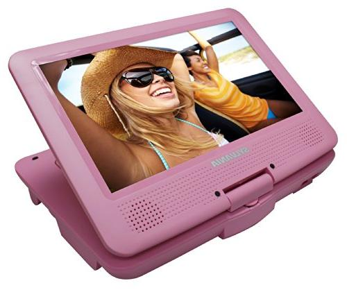 Sylvania 9-Inch Portable DVD/CD/MP3 5 Hour Battery, USB/SD AC/DC Adapter, Pink