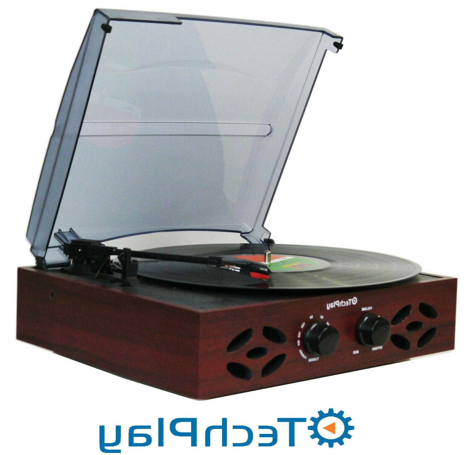 TechPlay ODC15 3 Speed Wooden Retro Classic Turntable with F
