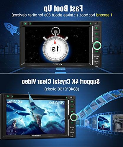 PUMPKIN Android 8.0 Car Stereo CD WiFi, 4GB RAM, Support Fastboot, Backup Camera, Auto, USB AUX, 6.2