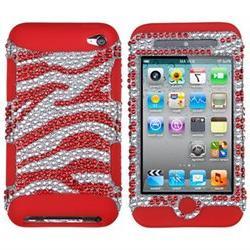 Apple iPod Touch 4Th Generation Zebra Skin Silver Red Diaman