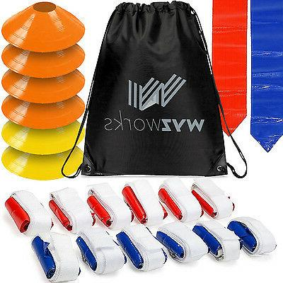 WYZworks Blue & Red Flags 12 Player Flag Football Set w/ Con
