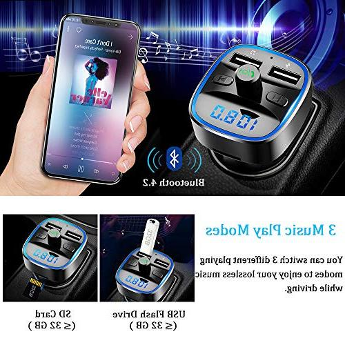 Bluetooth Vproof in-Car Wireless Adapter Music Player Kit W Circle Ambient 2 SD Card Flash Drive Support