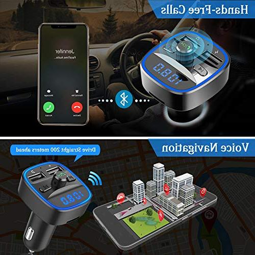 Bluetooth Transmitter, in-Car Wireless Adapter Kit W Ambient 2 Ports, Hands Free SD Flash Drive