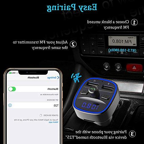 Bluetooth in-Car Transmitter Adapter Music Player Kit Circle Ambient Light, USB Ports, Hands SD Card & Flash Drive Support