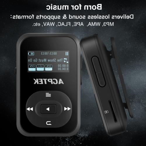 AGPTEK MP3 Player Clip Bluetooth 4.0 Portable Music Black