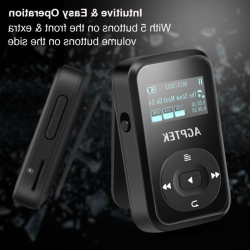 AGPTEK MP3 Clip Bluetooth Portable Black