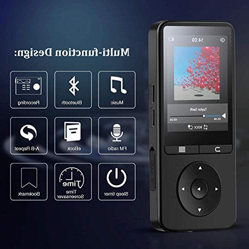 AGPTEK Bluetooth MP3 Player with 2.4 TFT Color Screen, FM/Voice Lossless Music up