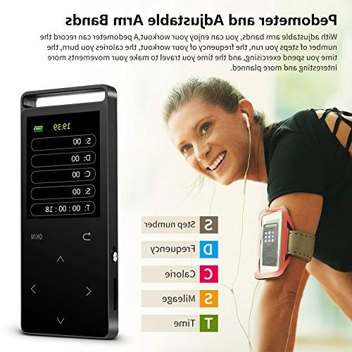 16GB Bluetooth MP3 with FM Radio/Voice 60 Sound,Metal Sound Quality an Armband, Black and Bluetooth