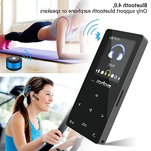 Bluetooth MP3 Lossless Player MP3 with FM for Running,1.8 Body Touch 128GB SD