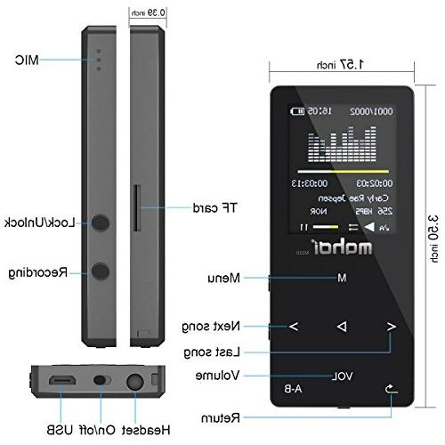 Lossless Music MP3 with FM Running,1.8 TFT Body 128GB Micro