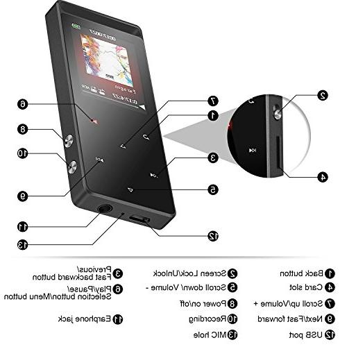 Bluetooth 8GB MP3 Touch Button,AGPTEK A01T Sound Metal Player with FM/Voice Inch TFT Screen,Support to 128GB,Gray