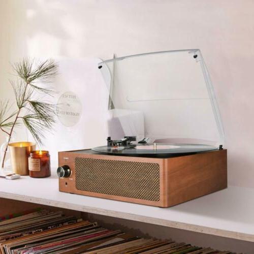 Bluetooth Vintage Player Belt-Driven 3-Speed Turntable Speakers RCA