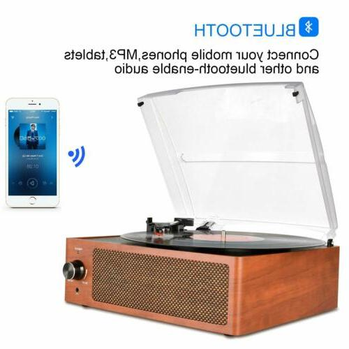 Bluetooth Vintage Vinyl Record Player 3-Speed Turntable Buil