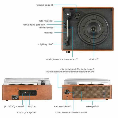 Bluetooth Player 3-Speed Speakers RCA