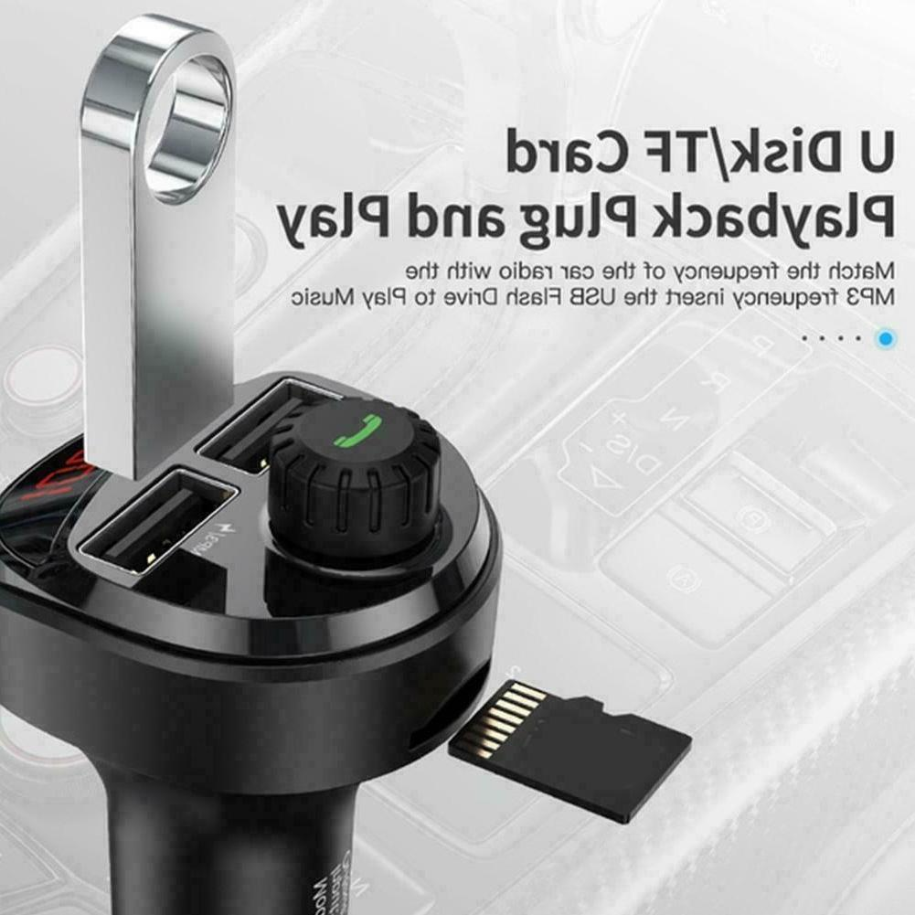 Bluetooth USB Car Charger MP3 For Wireless Transmitters Q4T0