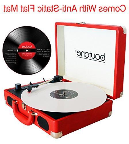 Boytone BT-101RD Bluetooth Briefcase Player 2 3-Speed, LCD FM Radio, Encoding, Volt.