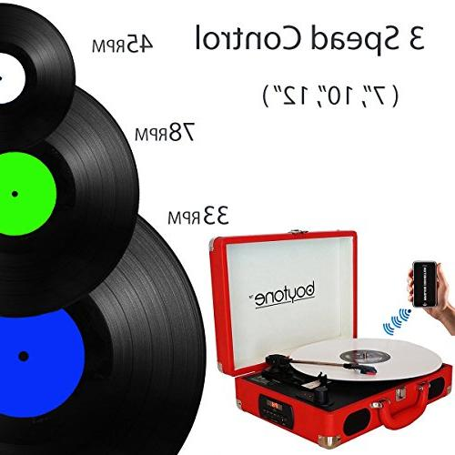 Boytone BT-101RD Turntable Briefcase AC-DC, Built in Rechargeable 2 Stereo LCD Display, Radio, USB/SD,RCA, AUX / Encoding,