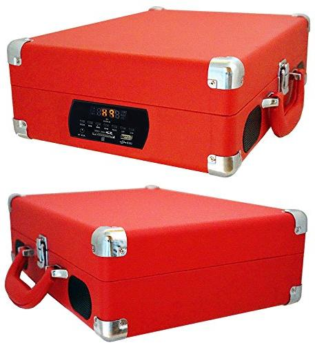Boytone Bluetooth Turntable Briefcase Built Battery, 2 Stereo Speakers LCD USB/SD,RCA, Encoding, Volt.