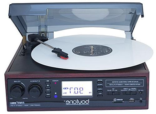 Boytone 3-speed Turntable, 2 in Large Digital Cassette, USB/SD/AUX/MP3, WMA Playback /Recorder & Headphone Jack Control
