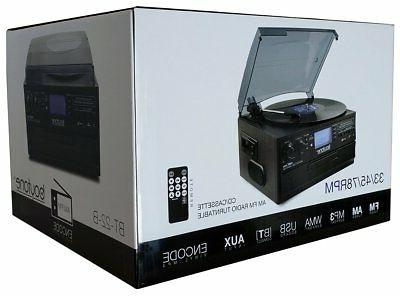 Boytone BT-22B,Bluetooth Record Player Turntable AM/FM CD/MP3/SD/USB