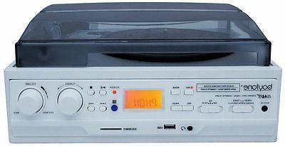 Boytone Turntable Built-In AM/FM Cassette White Color
