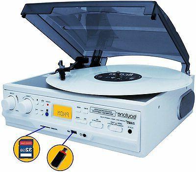 Boytone BT-37WT-C 3-Speed Turntable Built-In Speakers, AM/FM Cassette Color