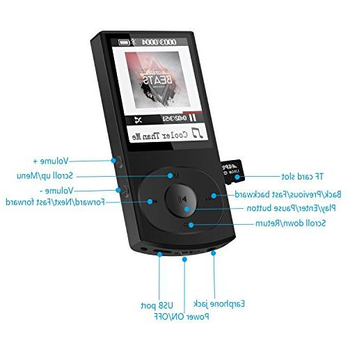 AGPTEK C3 Bluetooth 4.0 MP3 Player, Casing Supports Shuffle Radio, Expandable Up