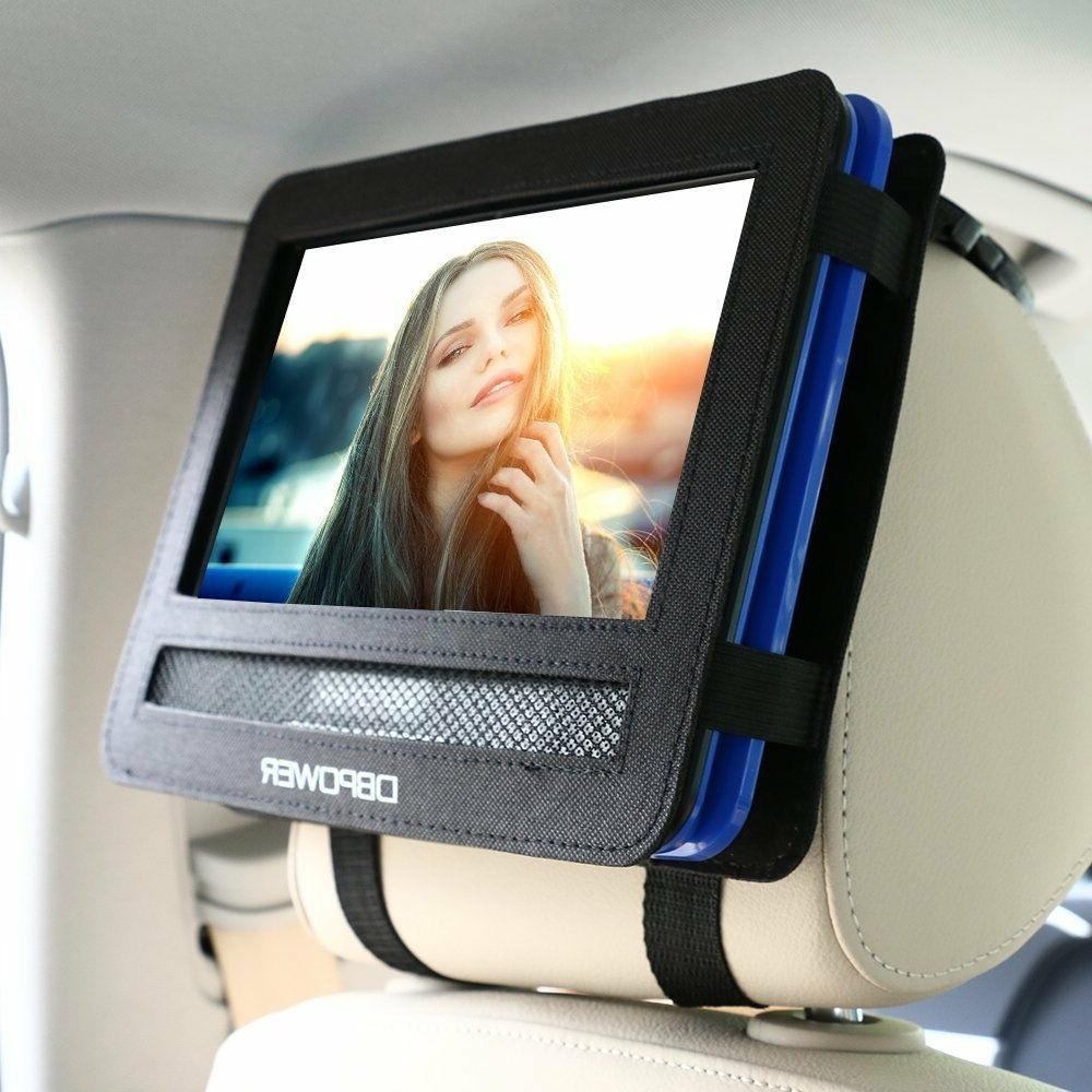 """Car DVD Headrest Mount Holder Strap Case Swivel Flip 9.5"""" Po"""
