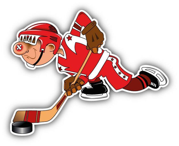 cartoon hockey player car bumper sticker decal