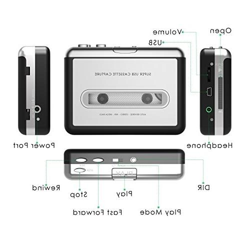 Cassette USB to MP3 Converter Walkman Audio Laptop Headphones and