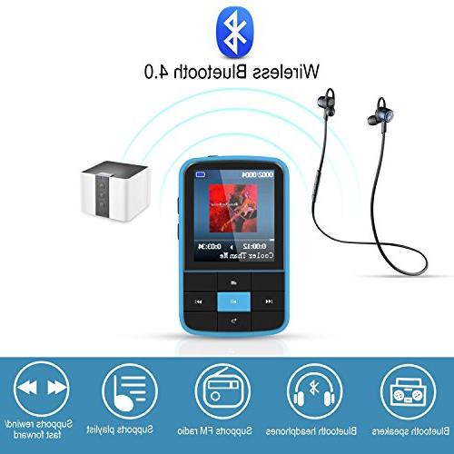 AGPTEK 4.0 MP3 Player, Clip Supports Playlist Radio with Expandable 128GB, Blue