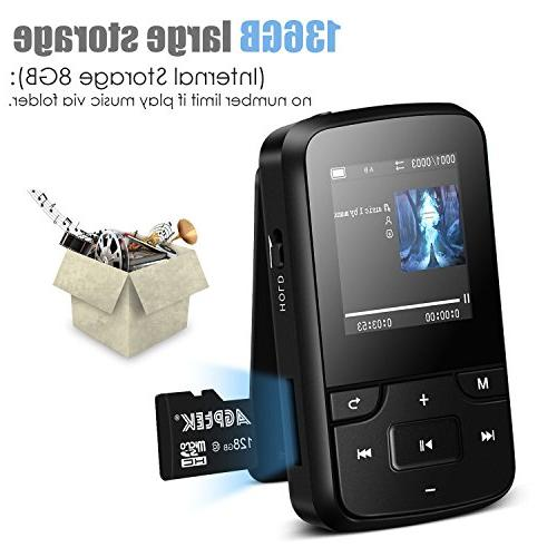 AGPTEK Clip Player with Bluetooth HD Display Portable 8GB Music and Silicone Expandable Up to 128GB,