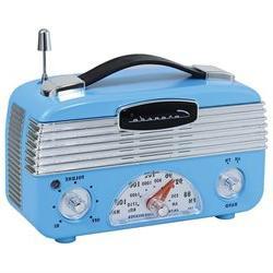 Coronado Vintage Style Retro Blue AM/FM Portable Radio w/ Le
