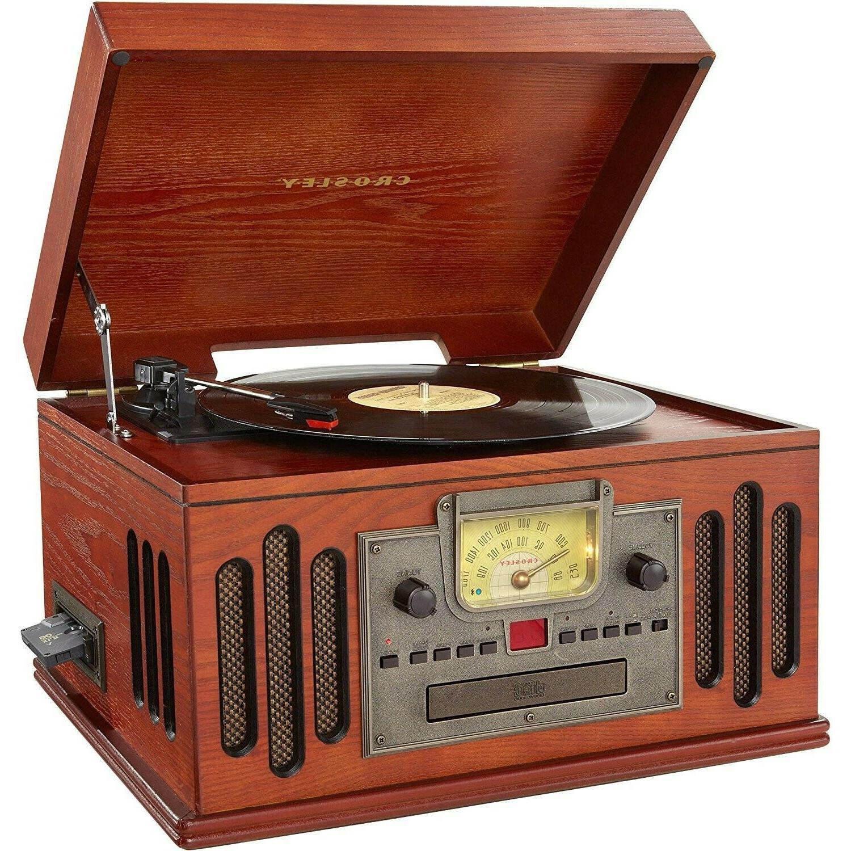 Crosley CR704D-PA Musician 3-Speed Turntable with Radio, CD/
