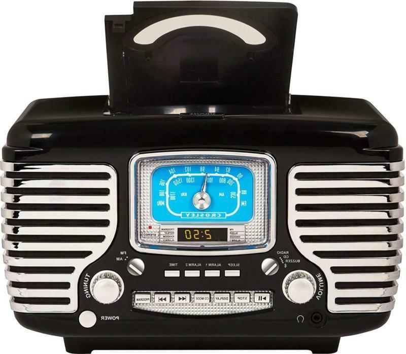 Crosley Cr612D-Bk Am/Fm Dual Clock Radio With Player And