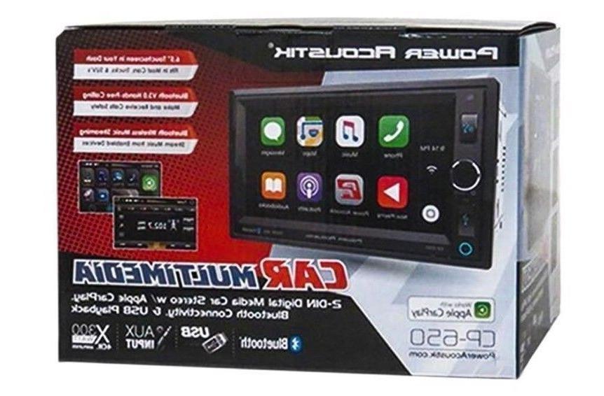 Power Din CP-650 Media Player Apple CarPlay Bluetooth AUX
