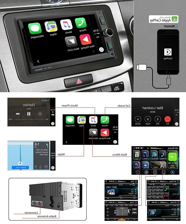 Power Acoustik Double 2 Din Apple CarPlay Bluetooth AUX
