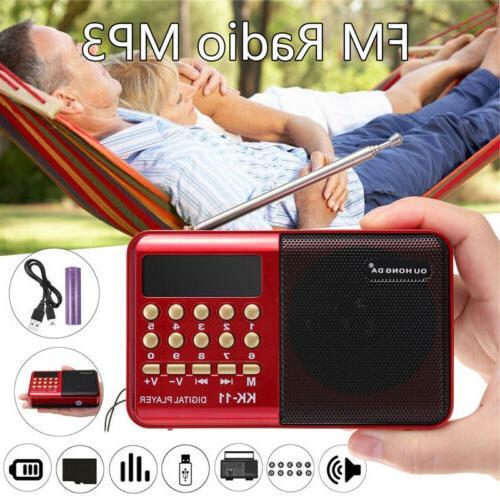 FM Mini Radio LCD Speaker Player USB with LED Light