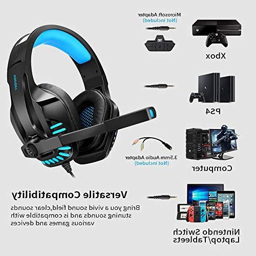 Gaming Headset for PS4, Cancelling Ear with Memory Ear Pads, Volume Control Tablet