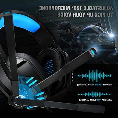 Gaming Headset with for PS4, One, Noise Cancelling Over with Pads, LED Light, Control Tablet Phone