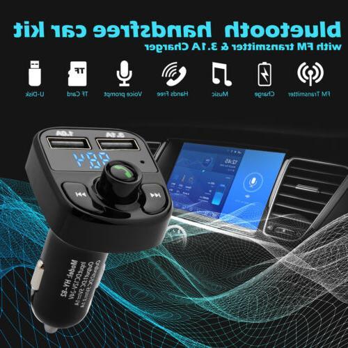 Handsfree Bluetooth Car Kit FM Transmitter LCD Player QC3.0