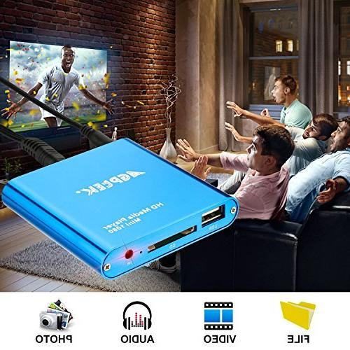 HDMI Blue Mini HDMI Digital Media Player for -MKV/RM- HDD USB Drives and SD Cards
