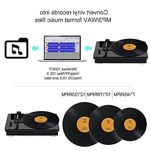 YENOCK Hi-Fi Record 3 Stereo with Lacquer Finish and Two 5W Passive Speakers MP3 and